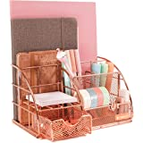 Rosework Rose Gold Desk Organizer for Women, All in One Desktop Organizer with Pen Holder, Pencil Holder and Paper Organizer,