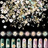 8 Sets Flower Nail Rhinestones Mixed Holographic Nail Art Artificial Pearl Crystal Flower Nail Metal Charms Flowers 3D Nail A