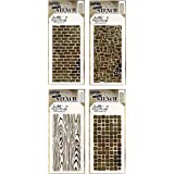 4 Tim Holtz Mixed Media Layered Stencils Set | Brick, Wall, Wood Grain, Stone Pattern | Templates for Arts, Card Making, Jour
