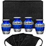 Forever Remembered Classic Blue Small Mini Cremation Keepsake Urns for Human Ashes - Find Peace and Comfort Everytime You Loo