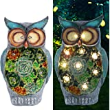 Prsildan Garden Owl Statue, Solar Powered 10 LED Lights, Ornaments for Yard, Lawn, Spring, Easter, Indoor Outdoor Decorations