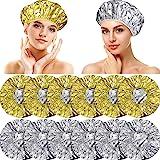 12 Pieces Aluminum Foil Deep Conditioning Caps Reusable Hair Processing Caps Hair Coloring Shower Caps for Home Salon Use (Go