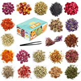 20 Bag - Dried Flowers, Natural Dried Flower Herbs Kit for Bath, Soap Making, Candle Making - Include Rose Petals,Rosebuds,Li