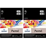2-Pack - Canson Mi-Teintes Pastel Paper Pad, White with Glassine, Dual Sided Light and Heavy Texture, Top Wire Bound, 98 Poun