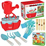 Clever Kid Toys Kids Gardening Set Includes Sturdy Tote Bag, Watering Can, Shovel, Rake, and Trowel - Kids Garden Tools