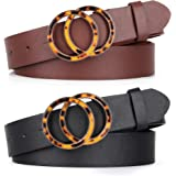 2 Pack Fashion Double O Ring Women Belts for Jeans Dress, Stylish Circle Removeable Buckle and Nice Pu Faux Leather