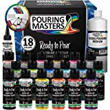 Pouring Masters 18 Color Ready to Pour Acrylic Pouring Paint Set - Premium Pre-Mixed High Flow 2-Ounce Bottles - for Canvas,