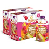 Happy Tot Organic Fiber & Protein Pouch Stage 4 Pears Raspberries Butternut Squash & Carrots, 4 Ounce Pouch (Pack of 16) (Pac
