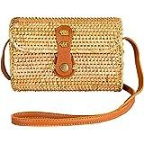 Handwoven Round Rattan Clutch Bag Shoulder Wicker Purse Natural Chic Hand NATURALNEO
