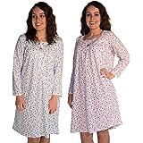 JOTW 2 Pack of Long Sleeve Cotton Print Nightgown Sleepwear Dress - Available Medium - 5XL (650)