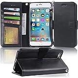 iPhone 6s Plus ケース 手帳型 - iPhone 6 Plus ケース 手帳 スマホケース 「ストラップ付き 横置き機能 カードポケット付き」 アイフォン6s/ 6 プラス カバー 適応用 財布型 Arae (ブラック)