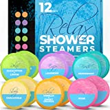 Shower Steamers Aromatherapy (12-Pack XXL Shower Vapor Tabs) - Shower Bombs for Women, Shower Tablets Aromatherapy (Assorted