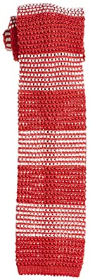 Stripe Silk Knit Tie 118-23-2422: Red