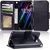 Arae Case Compatible for Samsung Galaxy S8, [Wrist Strap] Flip Folio [Kickstand Feature] PU Leather Wallet case with ID&Credi
