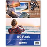 Self-Adhesive Photo Paper, Sticky Photo Paper, Glossy, 8.5 x 11 Inch, 100 Sheets, by Better Office Products, 135 gsm, Letter