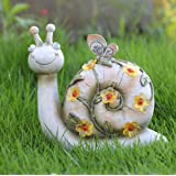 WSgift Garden Statue Resin Snail Figurine Solar Powered Outdoor Figurine Lights for Patio Lawn Yard Decorations, L8.5 x W3.5X