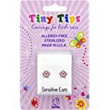 STUDEX Tiny Tips Sterling Silver Pink Star Stud Earrings in Tiffany Setting for Little Sensitive Ears