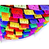 5 Pk Mexican Fiesta Decorations, Papel Picado Banner 60 ft total, Papel Picado tissue PAPER garland, Mexican theme party supp