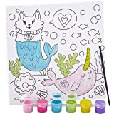 Non Toxic, All-in-One Pre Drawn Kids Canvas Paint Set. Mercat Print Panel Includes Brush and 6 Color Paints. Best Girls Chris