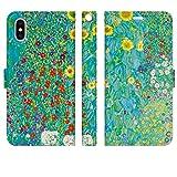 iPhoneXS iPhoneX 手帳型 ケース カバー クリムト ヒマワリの咲く農家の庭 花柄 Garden with 花 絵画 名画