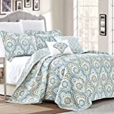 Serenta Tivoli Ikat Design 5 Piece Teal Aqua Printed Prewashed Quilted Coverlet Bed Cover Summer Quilt Blanket with Cotton Po