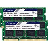 Timetec Hynix IC 16GB Kit(2x8GB) DDR3 1600MHz PC3-12800 Non ECC Unbuffered 1.35V CL11 2Rx8 Dual Rank 204 Pin SODIMM Laptop No