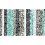 InterDesign Stripz Microfiber Bath Rug, 34 x 21-Inch, Mint/Gray