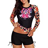 Runtlly Women's Long Sleeve Sun Protection Rash Guard Wetsuit Printed Two Piece Swimsuit Set S-XXXL