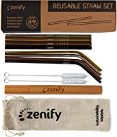 Zenify Reusable Metal Straws with Case + Bag + Cleaners - Stainless Steel Kids Smoothie Eco Friendly Drinking 8 Straight...