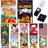 Season Garden Flags - Set of 12 Garden Flags - Double Sided Outdoor Holidays Yard Flags - Made of Polyester with Anti-Wind Cl