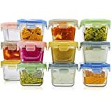 Glass Baby Food Storage Containers with Lids | Set of 12 | 5 oz Glass Food Containers | Freezer Storage | Reusable Small Glas