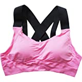 Runner Island Womens Bonnie's Strappy Light Pink Black High Impact & Padded Sports Bra for Large Bust Running