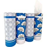 Car Tissue Holder with Facial Tissue Bulk - 4 PK TissueTube, 2-Ply Travel Tissues Travel Size, Perfect Fit for Car Cup Holder