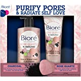 Bioré Rose Quartz Charcoal Face Wash Cleanser (6.77 oz) + Gentle Pore Refining Scrub (4 oz), Dermatologist Tested Total Skinc