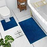 JustLINEN Bathroom Rugs Luxury Chenille 2-Piece Bath Mat Set, Soft Plush Super Absorbent Anti-Slip Bath Rugs + U Shape Contou