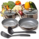 Moss & Stone 8PCS Nonstick Cookware Set, Aluminum Pots and Pans with Cooking Utensils, Induction Cookware, Pots and Pans Set