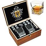 Whiskey Stones Gift Set - Heavy Base Glasses For Scotch Bourbon Drinker- Whisky Rocks Chilling Stones in Wooden Gift Box - Bu