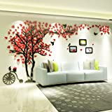 KINBEDY Acrylic 3D Tree Wall Stickers Wall Decal Easy to Install &Apply DIY Decor Sticker Home Art Decor. Red Leaves with Fra