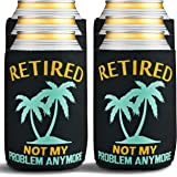 Retirement Gifts for Men Funny - 6-Pack of Premium Can Coolers - Beer Sleeves for Retirement Gifts for Women or Retired Gifts