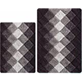 Antiskid Bath Rugs for Bathroom, Set 2 Piece in 100% Cotton Albany Inspired Bath Rugs 21x32/17x34, Brown Beige Combo,Cotton B