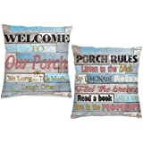 DZGlobal Welcome to Our Porch Pillow Covers Porch Rules Relax Sit Long Talk Much Wooden Pillowcase Home Farmhouse Decor Outdo