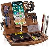 TESLYAR Natural Walnut Wood Phone Docking Station Key Holder Stand Organizer Men Nightstand Wallet Watch Purse