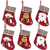 ZLXO NOVELTIES Mini Christmas Stockings | Small Christmas Stocking Set 3D Snowman, Santa and Reindeer Mini Stockings
