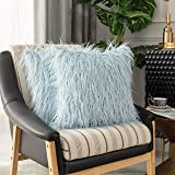 Kevin Textile Pack of 2 Faux Fur Pillow Covers Throw Pillows Cases, Luxury Series Plush Cushion Case Mongolian Style, Light B