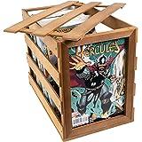 Wooden Comic Book Storage Box - Holds up to 170 Comic Books, Premium Wood Comic Book Bin, Includes a Comic Book Display Windo