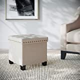 Nathan James Foldable Storage Ottoman Foot Rest and Seat, Cube, Beige