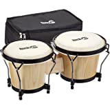 "RockJam 100300 7"" & 8"" Bongo Drum Set with Padded Bag, Natural"