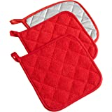DII 100% Cotton, Machine Washable, Heat Resistant, Everyday Kitchen Basic, Terry Pot Holder, 7 x 7, Set of 3, Tango Red