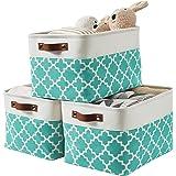 DECOMOMO Foldable Storage Bin   Collapsible Sturdy Cationic Fabric Storage Basket Cube W/Handles (Green Pattern, Large - 15 x