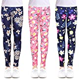 slaixiu 3-Pack Printing Flower Girl Leggings Kids Classic Pants 4-13Y